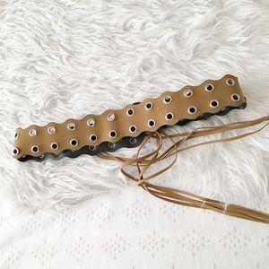 Accessories - Faux Suede Double Prong Belt
